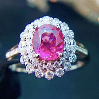 18K白金 無燒粉藍寶鑽石戒指