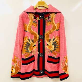 Gucci pink with dragons emborderies jacket coat size 36