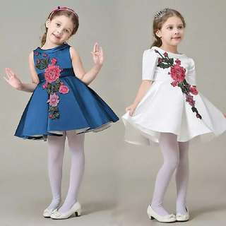 Girl Dress With Flower Embroidery Sleeveless Party Dresses Girl Summer Princess
