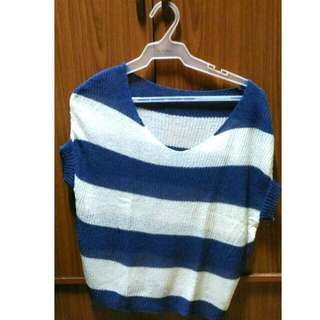 Blue and White Stripes Swimsuit Cover Up