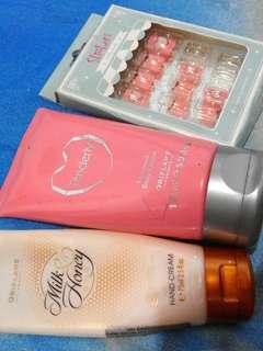 FLASH SALE! AMBIL SEMUA! 1 hand cream, 1 perfumed body lotion, & fake nails