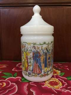 Vintage France Milk Glass Apothecary Jar