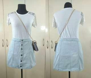 Ladies A-line Washed Denim Skirt