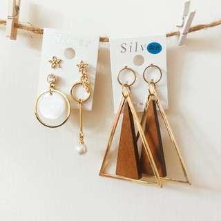 🚚 輕木頭幾何設計與不對稱貝殼紋耳環(三付)