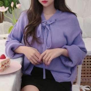 東大門正韓 前綁帶針織毛衣(粉紫)#女裝半價