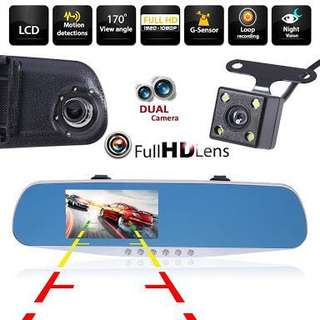 Dual Cam Rear View Mirror DVR Dash Cam