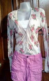 floral cardigan, laced bandeau,shorts bundle