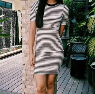 H&M Monotone Black White Striped Ribbed Bodycon Dress #fesyen50