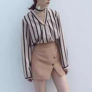 #FreePostage Khaki V Neck Stripes Shirt Blouse