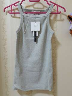 Grey Halter Ribbed Top