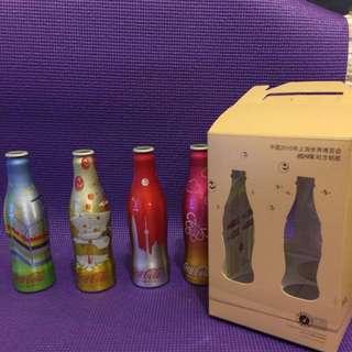 可口可樂2010中國慶祝上海世博紀念鋁樽一套4枝