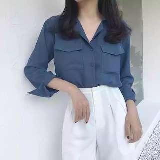 #FreePostage Blue Shirt Blouse