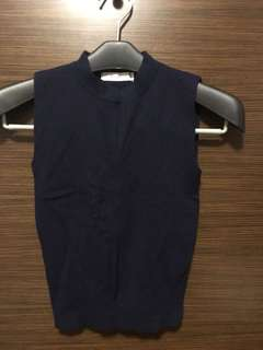 深藍色針織背心