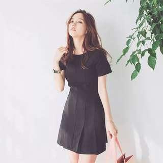 #FreePostage Pleated Black Dress
