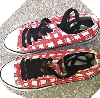 Checkered Red & White Shoes
