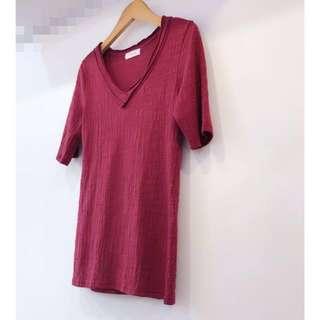 「正韓T」❤️新年大特價❤️竹節棉V領T-Shirt(紅)[#女裝半價]