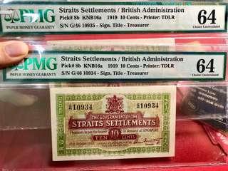 1919 STRAITS 10CENT - G/46 10934/10935 - PMG64