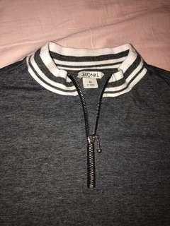 MONKI grey zip up turtle neck top