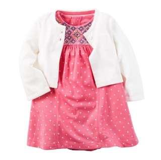 *18M* BN Carter's 2-Piece Bodysuit Dress & Cardigan Set