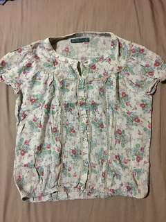 Floral print cotton blouse