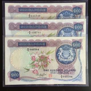 $100 Singapore orchid series notes (EF)