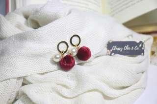 Pom Red Earrings