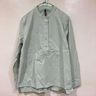 全新 中山領襯衫 半領 立領 淺灰色 前短後長