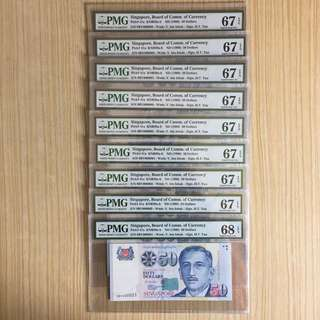 Super serials golden numbers 1-9 (PMG 67-68EPQ)