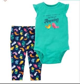 *24M* BN Carter's 2-Piece Bodysuit Pant Set  For Baby Girl