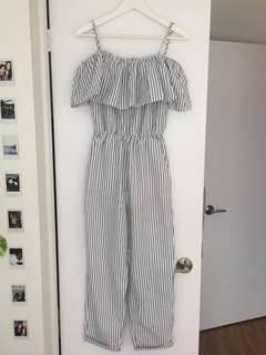 H&M Grey & White Striped Jumpsuit