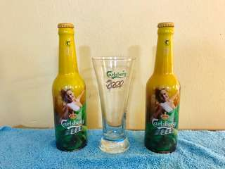 Carlsberg 2000 year glass and bottle