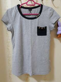 Grey Ringer Top