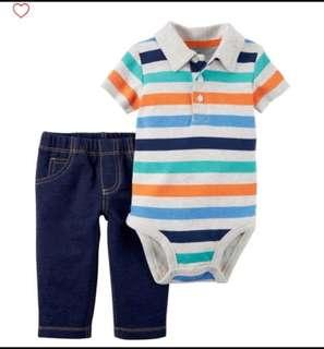 *24M* BN Carter's 2-Piece Bodysuit Pant Set  For Baby Boy