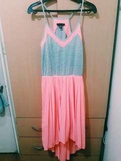 Neon pink long back dress