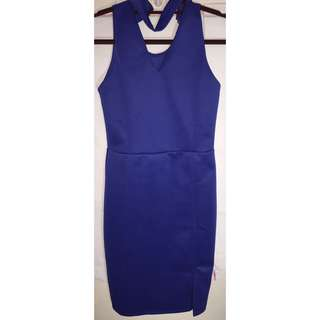 BLUE BODY FIT DRESS FOR WOMEN