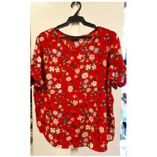 Red floral print short sleeve blouse