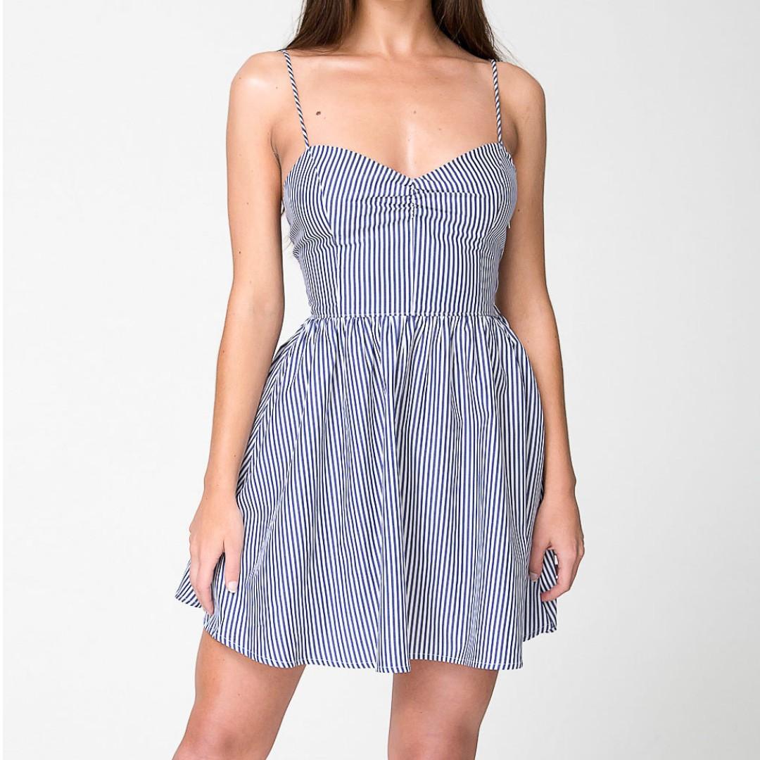 American Apparel Tie Back Dress Blue White Stripe XS S