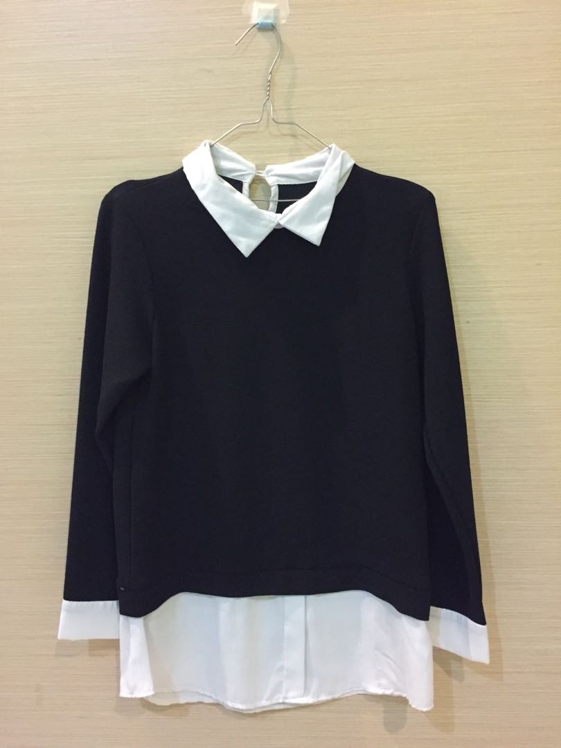 Baju sambungan black n white womens fashion womens clothes on carousell