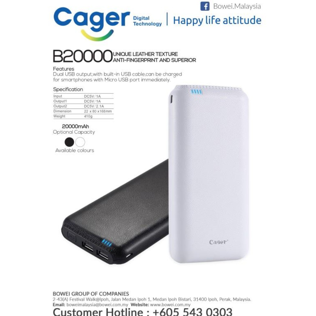 Cager B20000 Power Bank 20000mah Electronics Others On Carousell Speaker Bluetooth Leather Black Perak