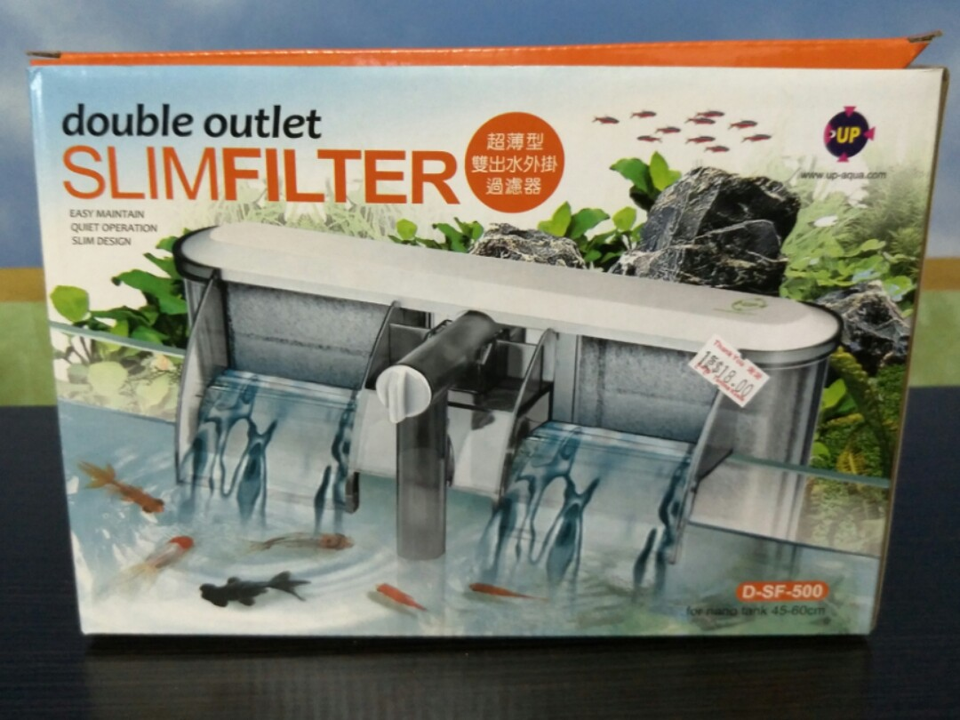 fish tank double outlet slim filter hanging type on carousell
