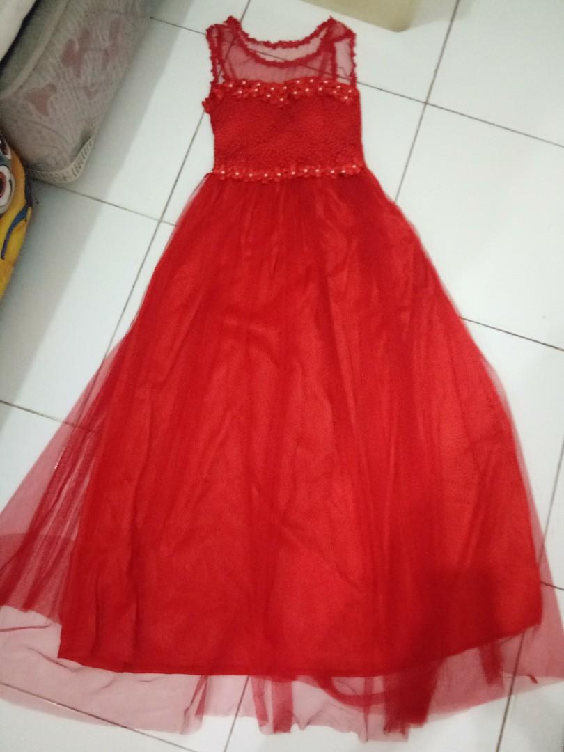 Gaun Pesta Merah Untuk Anak Remaja Women S Fashion Women S Clothes