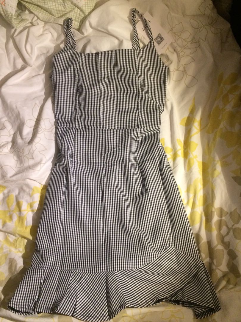 Gingham Ruffle Trim Dress