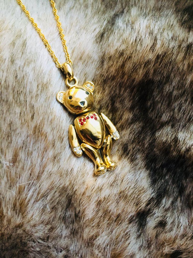 Gold tone bear necklace with crystals