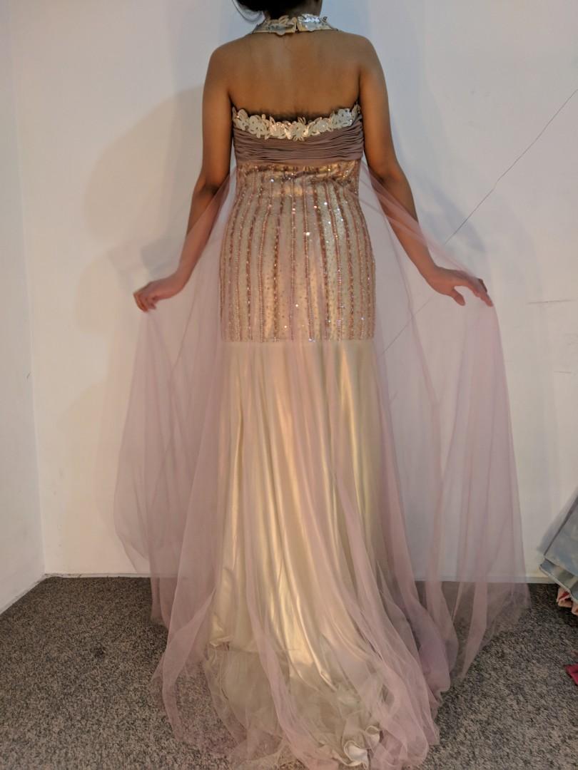 Gown gaun dress goldpink preloved