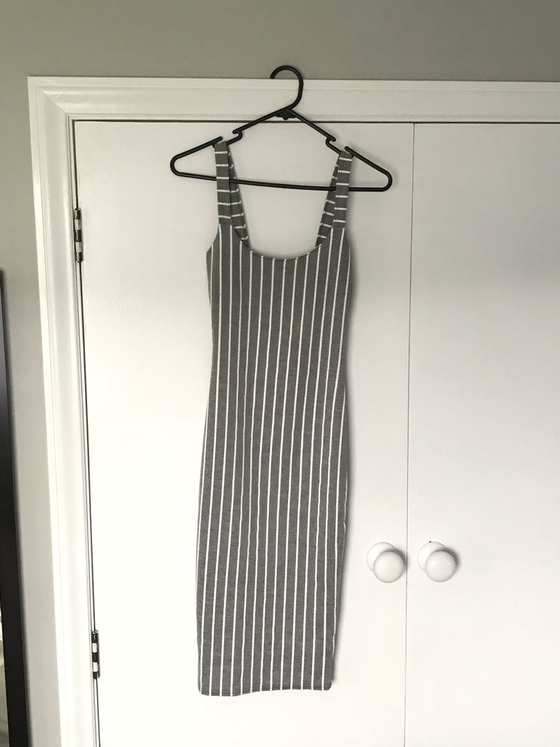 Grey striped midi dress