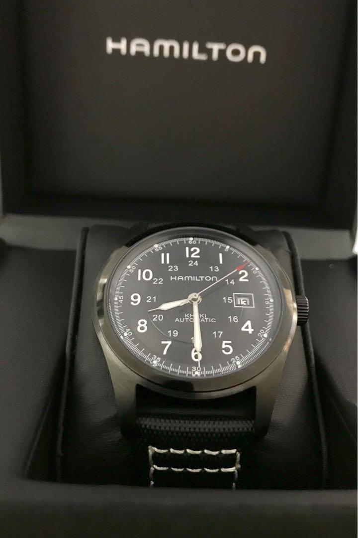 Hamilton Khaki Field Black Steel Automatic Watch W0599