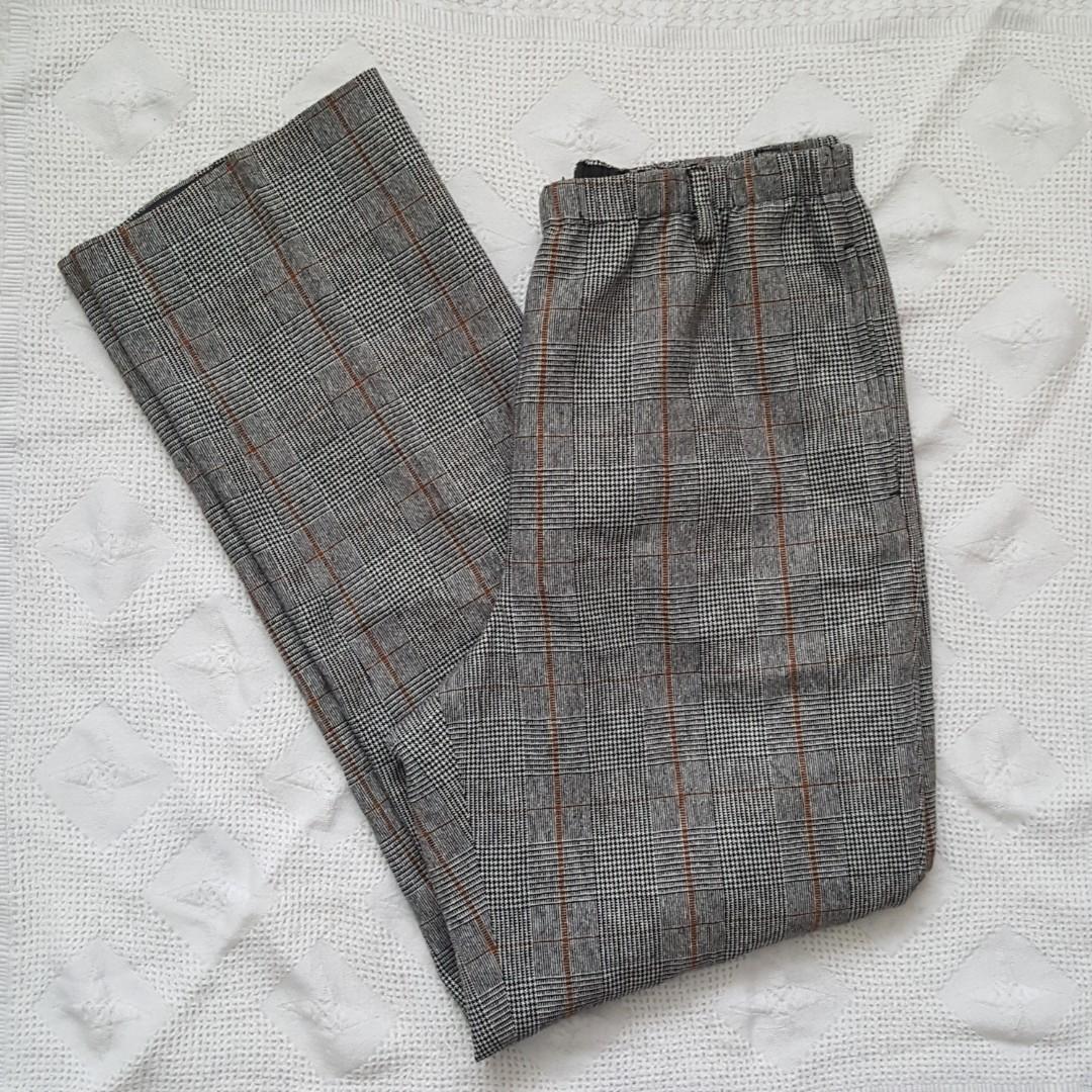 High Waist Plaid Tweed Pants