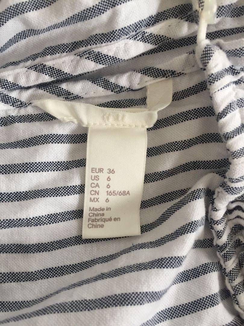 H&M Grey & White Striped Jumpsuit