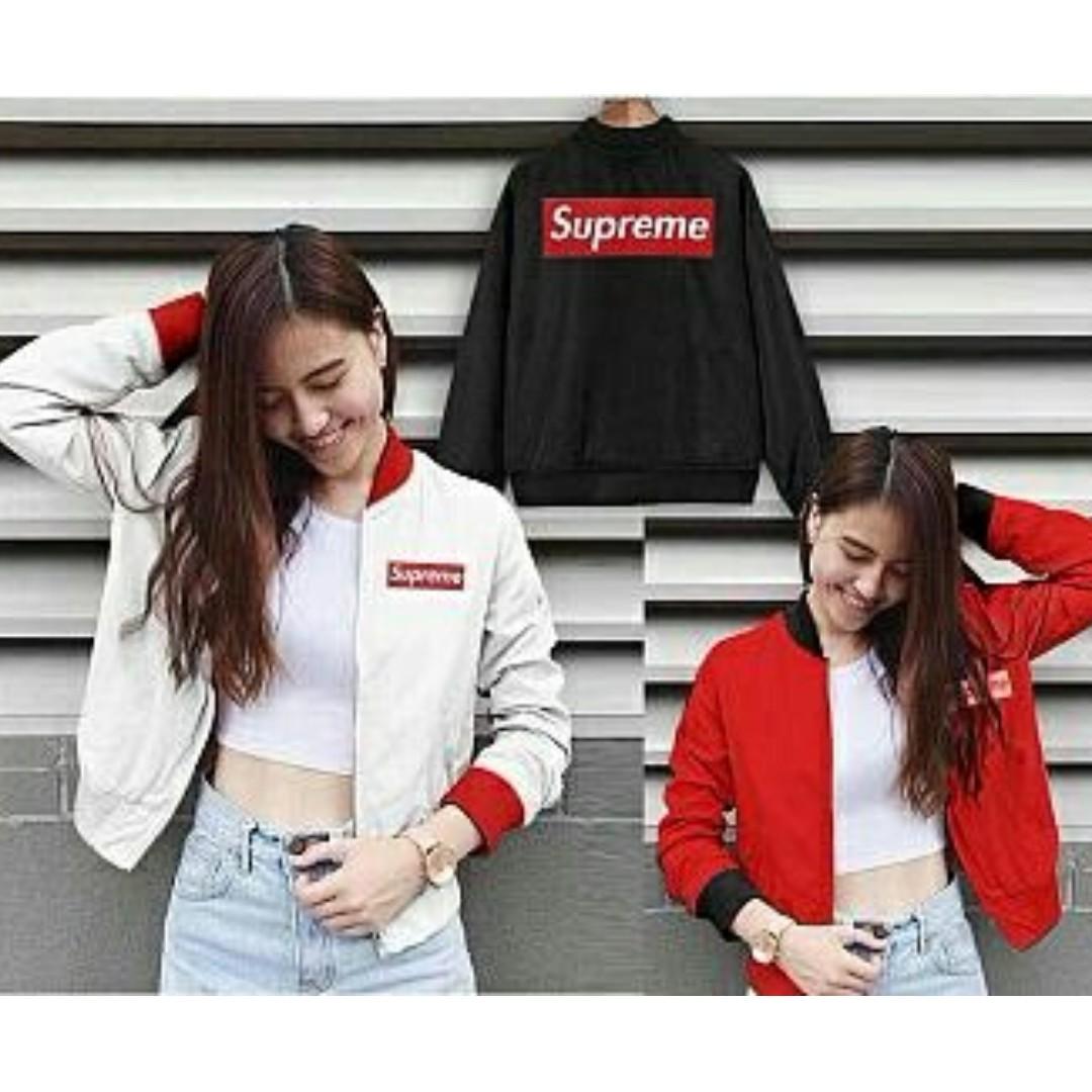Jaket Bomber Wanita Supreme Kotak 3 Warna Merah Hitam Putih 172d270f9d