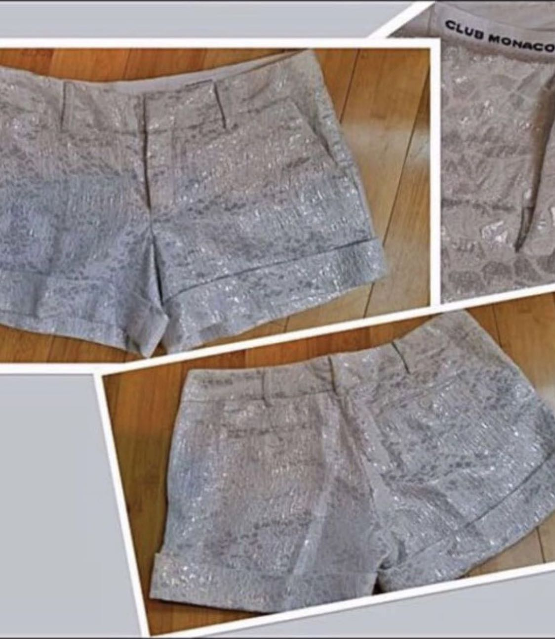 JUST REDUCED!!!!NEW GORGEOUS CLUB MONACO SILVER AND WHITE SHORTS(SIZE 10)